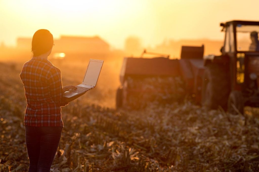Photograph of a woman in a plaid shirt watching a tractor in a field in a sunset